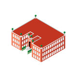 Flat 3d isometric building school or university with a clock and an open door as well as with green trees and bushes Royalty Free Stock Photography