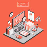 Flat 3d isometric business analysis illustration Royalty Free Stock Photos