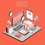 Flat 3d isometric business analysis illustration Royalty Free Stock Photos