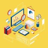 Flat 3d isometric business analysis illustration. Over yellow background royalty free illustration