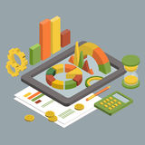 Flat 3d Isometric Business , Chart Graphic vector. Flat 3d isometric business finance analytics, chart graphic report on tablet web infographic concept vector Royalty Free Stock Photos