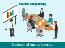 Flat 3D isometric business conference concept. Talking, discussing businesspeople Stock Images