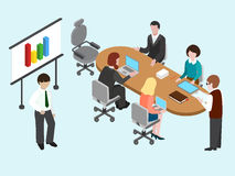 Flat 3D isometric business conference. Concept. Talking, discussing businesspeople. Vector illustration Stock Photo