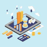 Flat 3d Isometric Business Finance Analytics. Chart graphic report on tablet web infographic concept vector. Hourglass calculator money coins documents and Royalty Free Stock Photos