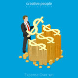 Flat 3d isometric business money over limit vector. Isometric Expense Overrun business concept. Flat 3d isometry style web site vector illustration. Creative Stock Images