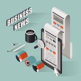 Flat 3d isometric business news illustration. Over blue background Stock Photos