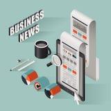 Flat 3d isometric business news illustration. Over blue background vector illustration
