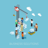Flat 3d isometric business solutions web infographic concept. Vector. Crane construction building puzzle pieces. People constructing, manager boss foreman Stock Photo