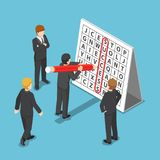 Isometric businessman found success in word search puzzle. Royalty Free Stock Image