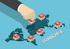 Isometric businessman hand put franchise store on world map. Flat 3d isometric businessman hand put franchise store on world map. Franchise business concept Royalty Free Stock Image