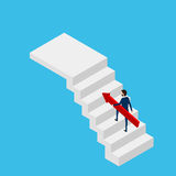 Flat 3D isometric. Businessman holding growing graph on stair to target and success. Stair step to success. Cartoon Vector Illustration Royalty Free Stock Images