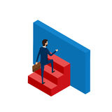 Flat 3D isometric. Businessman try to success. Stairs step to success. Metaphor obstacle. Right Solution to solve problem business Royalty Free Stock Photos