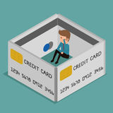 Flat 3D isometric. Businessman very upset .Credit card encircled. Debt concept. Stock Photos