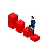 Flat 3D isometric. Businessman walking on stair growing graph to success. Stair step to success. Cartoon Vector Illustration Stock Images