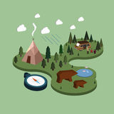 Flat 3d isometric camping life illustration Stock Photos
