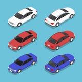 Flat 3d isometric car. City transport icon set Royalty Free Stock Image