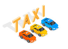Flat 3d Isometric Car Taxi Stock Images