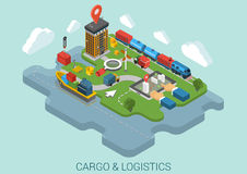 Flat 3d isometric cargo delivery business concept vector Royalty Free Stock Photography