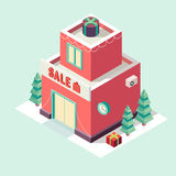 Flat 3d isometric Christmas store New year sale Royalty Free Stock Photography
