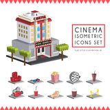 Flat 3d isometric cinema icons set illustration Stock Photos