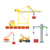 Flat 3d isometric city construction crane icon set Royalty Free Stock Photo