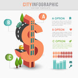 Flat 3D isometric city infrastructure infographics, dollar shape. Flat 3D isometric city infrastructure infographics, costs concept, dollar shape,  illustration Royalty Free Stock Photography