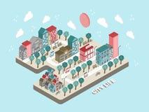 Flat 3d isometric city life concept illustration Royalty Free Stock Image