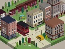 Flat 3d isometric city life illustration Royalty Free Stock Photos