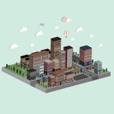 Flat 3d isometric city life illustration Stock Photos