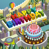 Flat 3d isometric city scenery with big birthday cake. Illustration Royalty Free Stock Photography