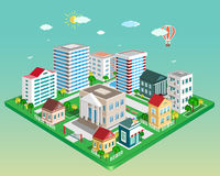 Flat 3d isometric city. Set of detailed isometric vector buildings Stock Photo