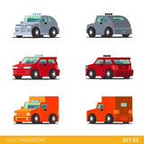 Flat 3d isometric city transport icon set: cars and van Royalty Free Stock Photos