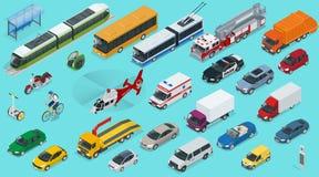 Flat 3d isometric city transport icon set.. Flat 3d isometric city transport icon set. Taxi, Ambulance, trolleybus, Police, safari travel, Bicycle, Mini Royalty Free Stock Images
