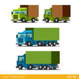 Flat 3d isometric city transport icon set: trucks Stock Images