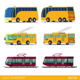 Flat 3d isometric city transport: tram trolleybus bus Stock Photo