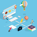 Flat 3d isometric concept of online education. Stock Image