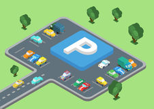 Flat 3d isometric concept of public outdoor open parking area. Flat style 3D isometric vector illustration concept of public outdoor open parking area. Big Royalty Free Stock Photos