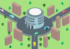 Flat 3d isometric concept road traffic circular motion Stock Photo