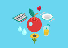 Flat 3d isometric concept vector web healthy nutrition bio food Royalty Free Stock Images