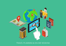 Flat 3d isometric concept vector web infographic online booking. Travel hotel booking flat 3d isometric pixel art modern design concept vector. Search book pay Vector Illustration