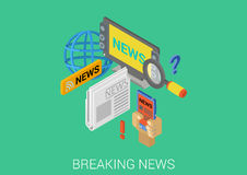 Flat 3d isometric concept web infographic hot breaking news Royalty Free Stock Photography
