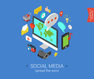 Flat 3d isometric concept  web infographic social media Stock Photography