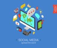 Flat 3d isometric concept web infographic social media. Social media flat 3d isometric pixel art modern design concept icons composition set. Desktop, chat Stock Illustration