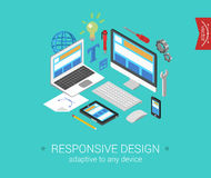 Flat 3d isometric concept web responsive website. Flat responsive webdesign 3d isometric modern design concept . Laptop, desktop, tablet, touch screen phone Vector Illustration