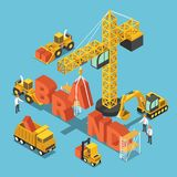 Isometric construction site vehicles buildding BRAND word. Flat 3d isometric construction site vehicles buildding BRAND word. Business brand building concept royalty free illustration