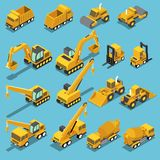 Isometric construction transport icon set. Flat 3d isometric construction transport icon set include excavator, crane grader, cement mixer truck, road roller Royalty Free Stock Photography