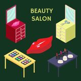 Flat 3d isometric creative Beauty salon. New business. Vector illustration. Stock Images