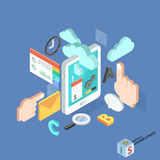 Flat 3d isometric creative tablet mobile services Royalty Free Stock Photography