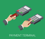 Flat 3d isometric credit card payment POS terminal PIN code. Usage web infographics concept. Creative people collection Stock Photography