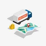 Flat 3d isometric delivery car with route map and boxes. Stock Photo